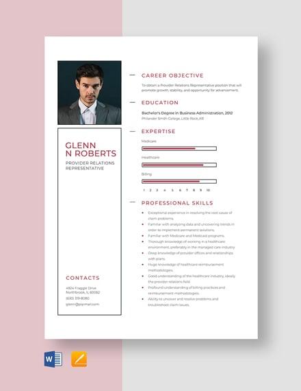 Provider Relations Representative Resume Template
