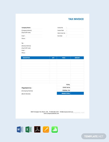 Free Basic Tax Invoice Template