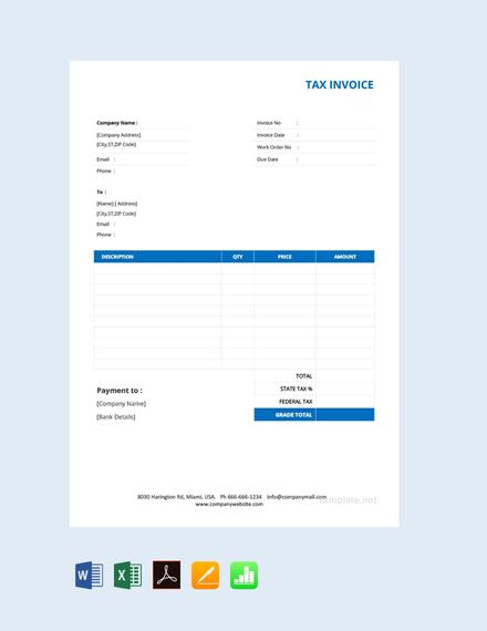 Free Basic Tax Invoice Template