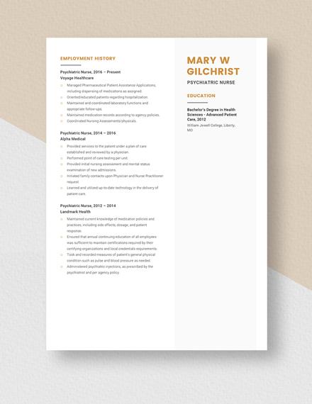 Psychiatric Nurse Resume Template