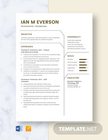 Psychiatric Technician Resume Template