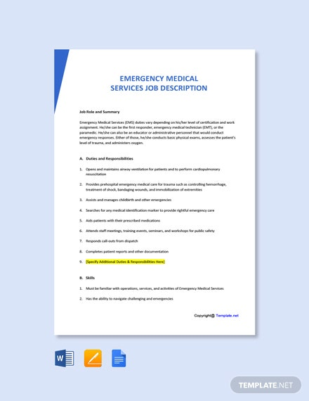 Free Emergency Medical Services Job Ad and Description Template