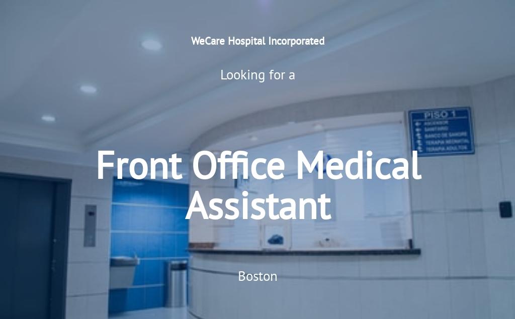 Front Office Medical Assistant Job Ad/Description Template