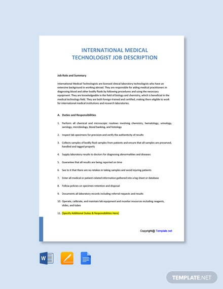 Free International Medical Technologist Job Ad and Description Template