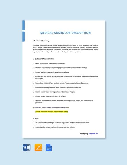Free Medical Admin Job Ad/Description Template
