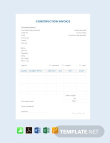 Free Sample Construction Invoice Template