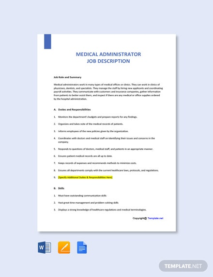 Free Medical Administrator Job Ad and Description Template