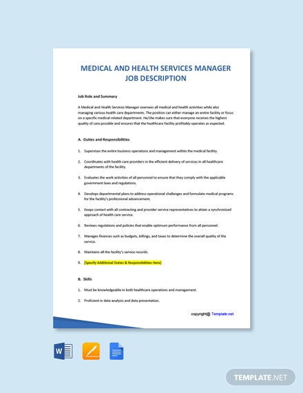Free Medical and Health Services Manager Job Description Template