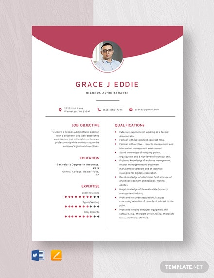 Records Administrator Resume Template
