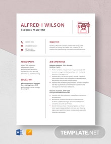 Records Assistant Resume Template