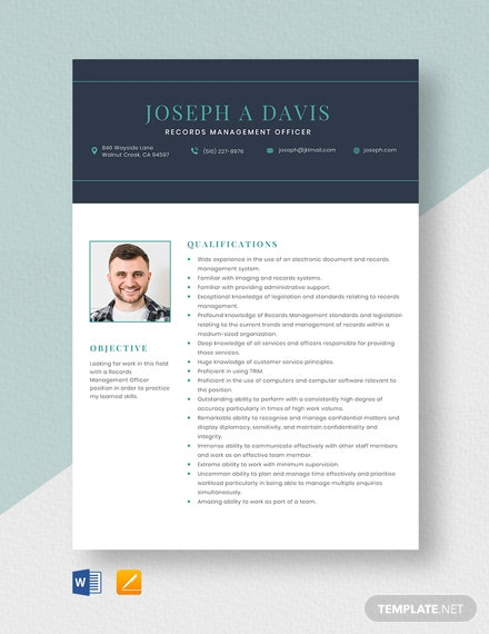 Records Management Officer Resume Template