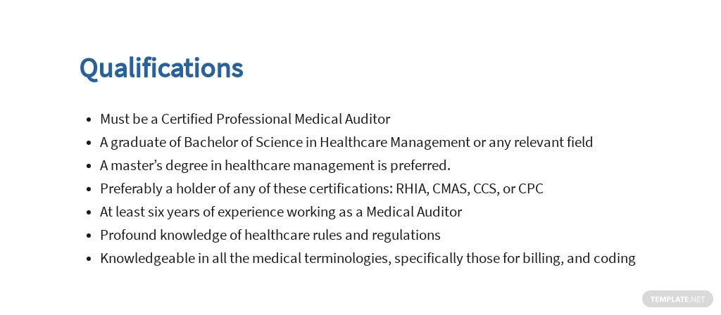 Free Medical Auditor Job Ad and Description Template 5.jpe