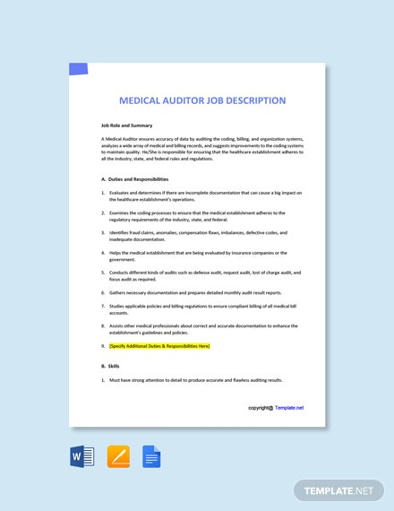 Free Medical Auditor Job Ad and Description Template