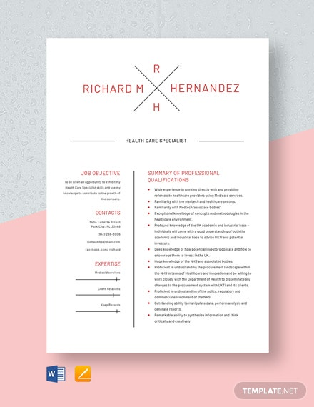 Health Care Specialist Resume Template