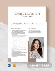 Physical Trainer Resume Template