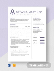 Physician Office Manager Resume Template