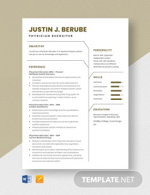 Physician Recruiter Resume Template