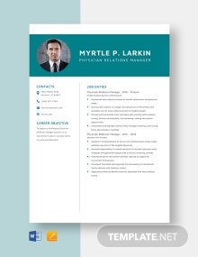 Physician Relations Manager Resume Template