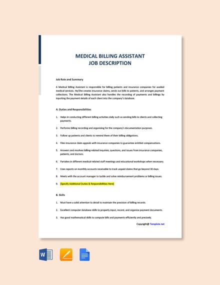 Free Medical Billing Assistant Job Description Template