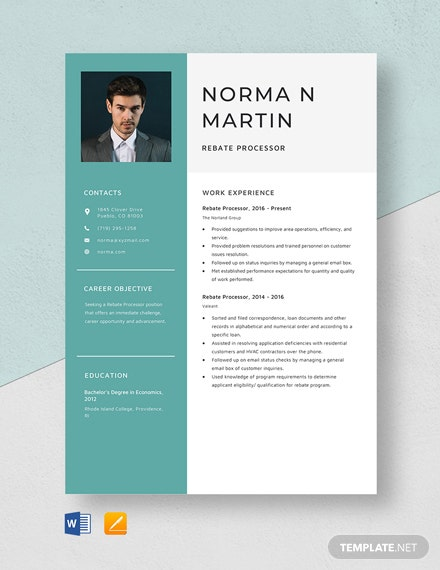 Rebate Processor Resume Template