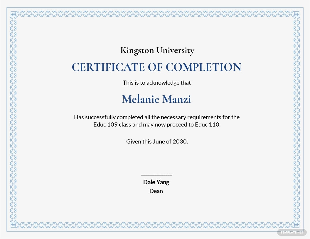 Free Sample Completion Certificate Template.jpe