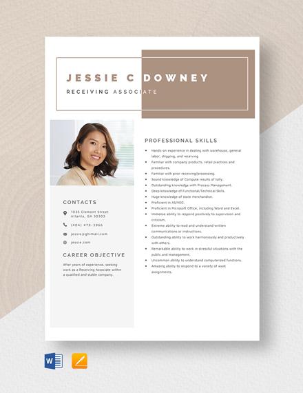 Receiving Associate Resume Template