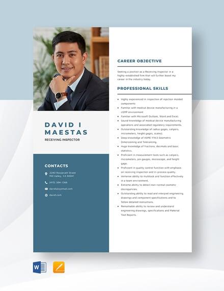 Receiving Inspector Resume Template