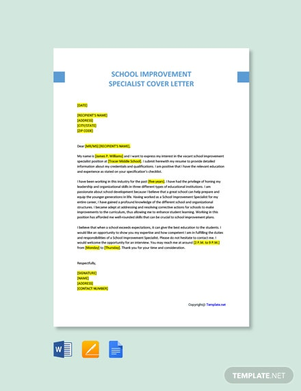 Free School Improvement Specialist Cover Letter Template