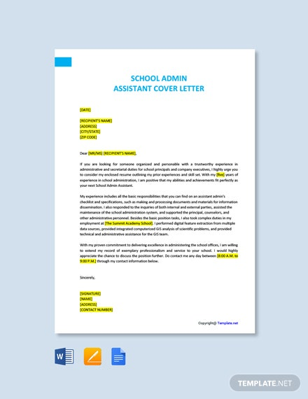 Free School Admin Assistant Cover Letter Template