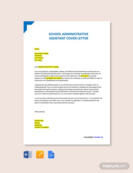 Free School Administrative Assistant Cover Letter Template