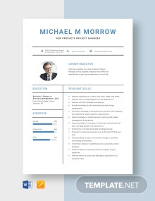 New Products Project Manager Resume Template