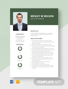 Night Audit Manager Resume Template
