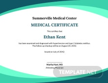 Free Sample Medical Certificate from Doctor Template