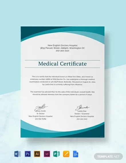 Sample Medical Certificate from Doctor