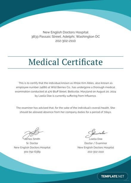 Free medical certificates free templates sample medical certificate from doctor template yelopaper Images