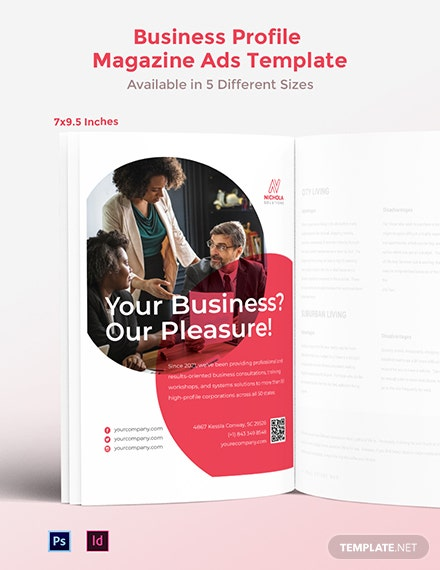 Free Business Profile Magazine Ads Template