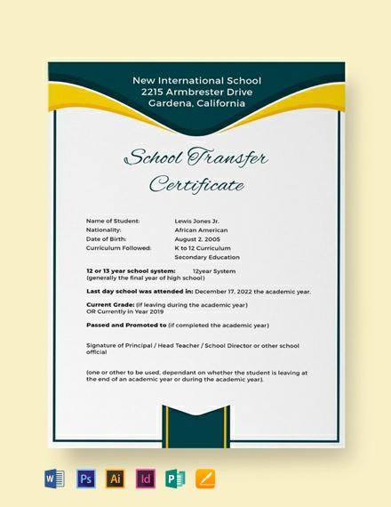 free school transfer certificate template