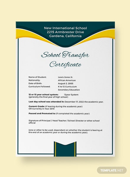 School Transfer Certificate Template