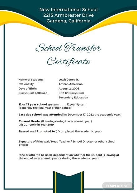 Free School Transfer Certificate Template Download 200