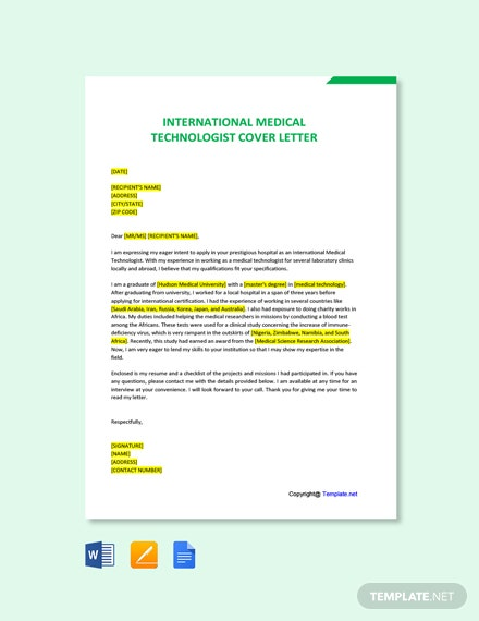 Free International Medical Technologist Cover Letter Template