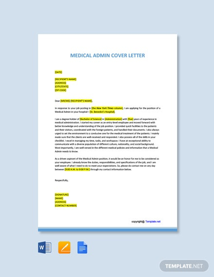 Free Medical Admin Cover Letter Template