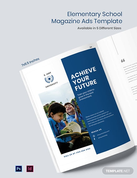 Elementary School Magazine Ads Template