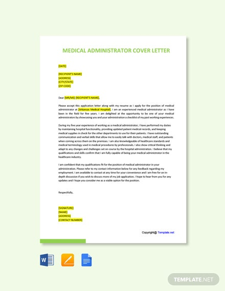 Free Medical Administrator Cover Letter Template
