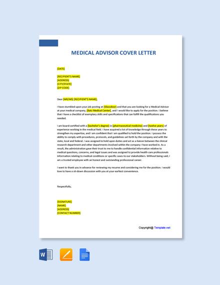 Medical Advisor Cover Letter Template
