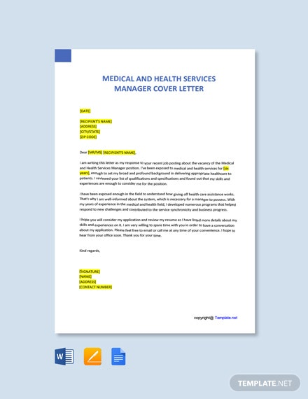 Free Medical and Health Services Manager Cover Letter Template