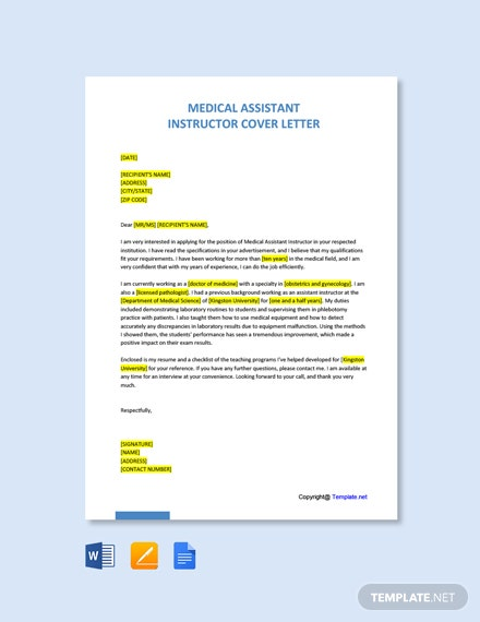 Free Medical Assistant Instructor Cover Letter Template