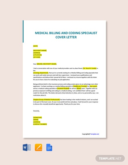 Free Medical Billing And Coding Specialist Cover Letter Template