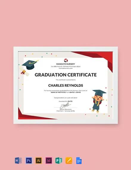 Free Nursery Graduation Certificate Template