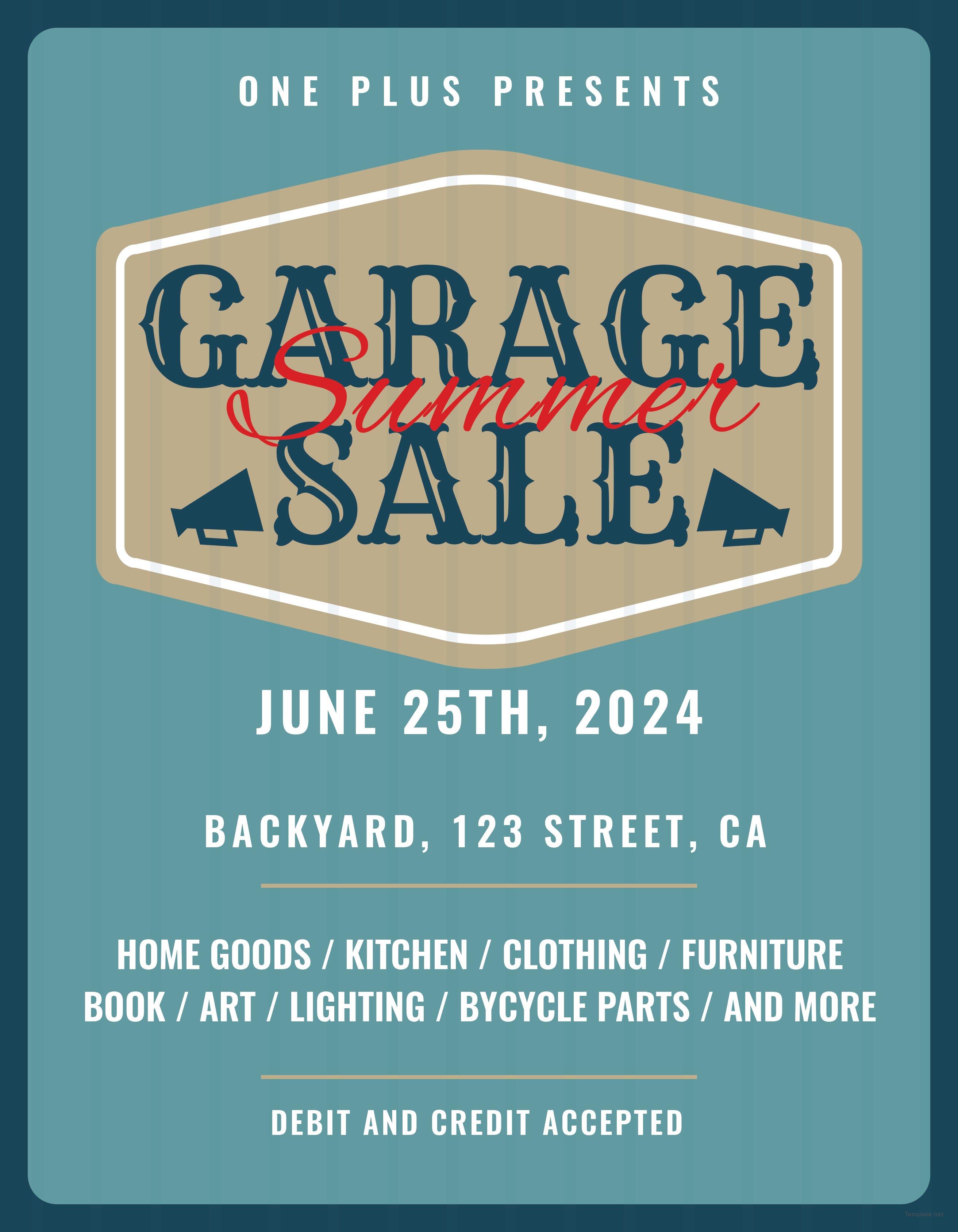printable garage sale flyer template in adobe illustrator  photoshop