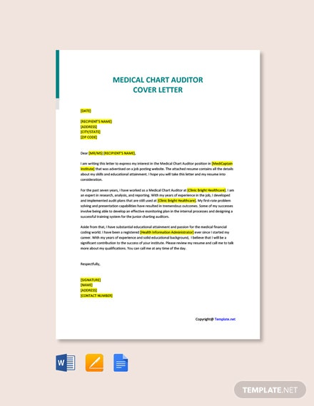 Free Medical Chart Auditor Cover Letter Template